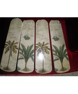 CUSTOM ~ TROPICAL PALM TREE SCRIPT CEILING FAN WITH LIGHT HAWIIAN FLORID... - $98.01