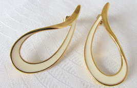 Vintage Avon Off White Enamel Slender Tear Drop Ribbon Loops Earrings Su... - $13.50
