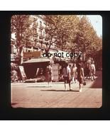 1966 Barcelona La Rambla Boulevard Street Scene Medium Format  Slide  - $19.79