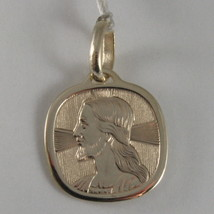 SOLID 9K YELLOW GOLD FACE OF JESUS CHRIST MEDAL, MADE IN ITALY, 9KT ENGRAVABLE image 1