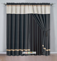4-Pc Quilted Chevron Zigzag Striped Curtain Set Beige Brown Coffee Valance Drape - $40.89