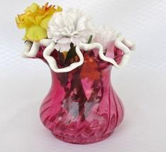 Vintage Fenton Ruby Snow Crest Spiral Vase Ruffled Squat Vase - $46.50