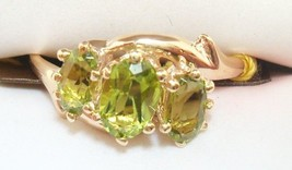 Victorian 10k Gold Ring with Three Oval Genuine Natural Peridots (#2546) - $363.38