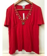 GABRIELLA ROSSI Red Rayon Spandex Jersey Embellished Short Sleeve Top Pe... - $19.95
