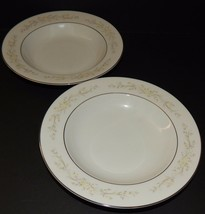 2 Sango Four Crown Sintra 340 Pastel Soup Bowls Flower Pattern Silver Rim Japan - $24.74