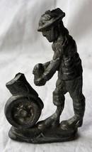 Vintage Semi Flat Cast Lead Soldier WWI Gunner Loading Mortar Good Detail