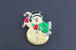 Vintage Pin Brooch Jewelry Unsigned Snowman Frosty Christmas - $11.81