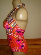 New Leilani Lux Women's 1 Pc Swimsuit V-Neck Halter Atomic Orange Tropical Sz 10 image 2