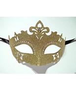 Gold Glitter Princess Crystal Mardi Gras Masquerade Mask Laser Cut - $9.49