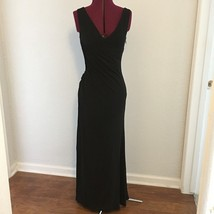 Sexy ABS By Allen Shwartz Long Black Ruched Asymmetrical Evening Gown Dr... - $48.75