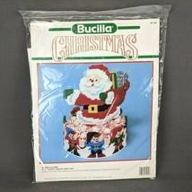 Bucilla Christmas Santa & Elves Plastic Canvas Candy Dish Kit #61139 NEW 1990 - $14.45