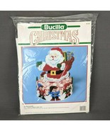 Bucilla Christmas Santa & Elves Plastic Canvas Candy Dish Kit #61139 NEW... - $14.45