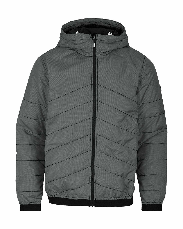Bench Ahlo Black Charcoal Grey Quilted Lightweight Winter Jacket Hood BMKA1469