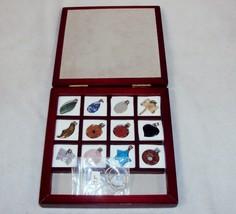 Gemstone Charm Bracelet w/12 Stones ~ Wooden Storage Box & Molded Foam Tray - $24.45