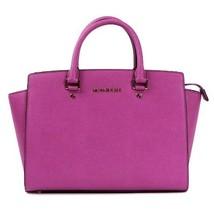 Michael Kors Selma Handbag Large Satchel East West Leather Tote, Fuchsia - $434.61