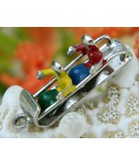 Vintage sled toboggan bracelet charm enamel 2 kids sterling thumbtall