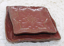 Vintage PARTYLITE Floral Embossed CANDLE PILLAR TRAY/PLATES Candle Holders - $13.00
