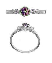 Sterling Silver ring size 6 CZ Engagement Rainbow Mystic Topaz Promise New 925 - $12.58