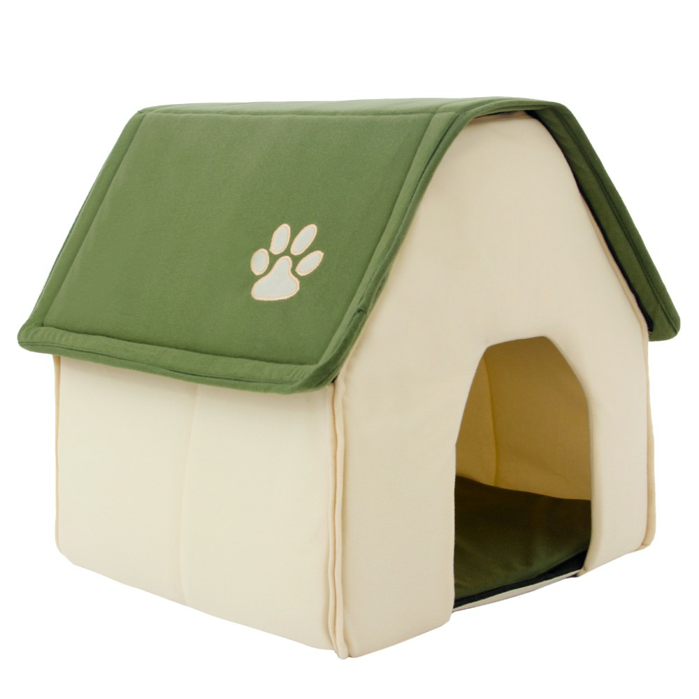 Pet Dog Cat Bed Portable Soft Cushion Crate House Home Shape Kennel Cozy Cave