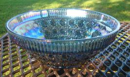 LARGE BLUE CARNIVAL GLASS BOWL - $74.25