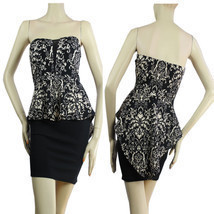 Floral Top,Tight Up Skirt PEPLUM Dress V-Mesh,Stretch Mini Tube Dress S - $496,63 MXN