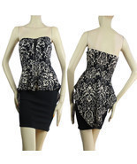 Floral Top,Tight Up Skirt PEPLUM Dress V-Mesh,Stretch Mini Tube Dress S - $34.44 CAD