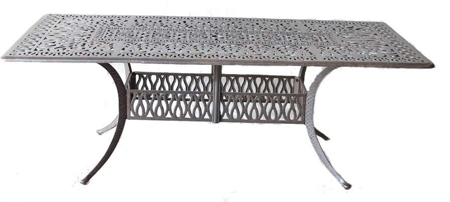 "Patio Table Rectangular 44"" X 84"" Elisabeth Outdoor Cast Aluminum Dark Bronze"