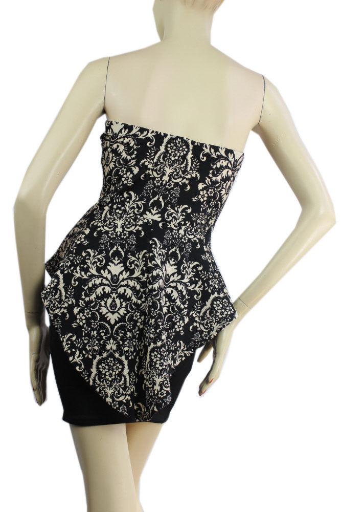 Floral Top,Tight Up Skirt PEPLUM Dress V-Mesh,Stretch Mini Tube Dress S
