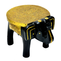 The Vintage Decor Wooden Elephant Table / Handcrafted with Brass Work - $56.99