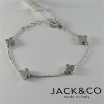 Silver 925 Bracelet Jack&co with Four-Leaf Clover and Zirconia Cubic Jcb... - $103.61