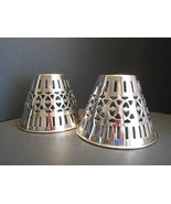 Two Vintage Silver Plated Pierced Lamp Shades Made in India 4 x 5 - $12.00