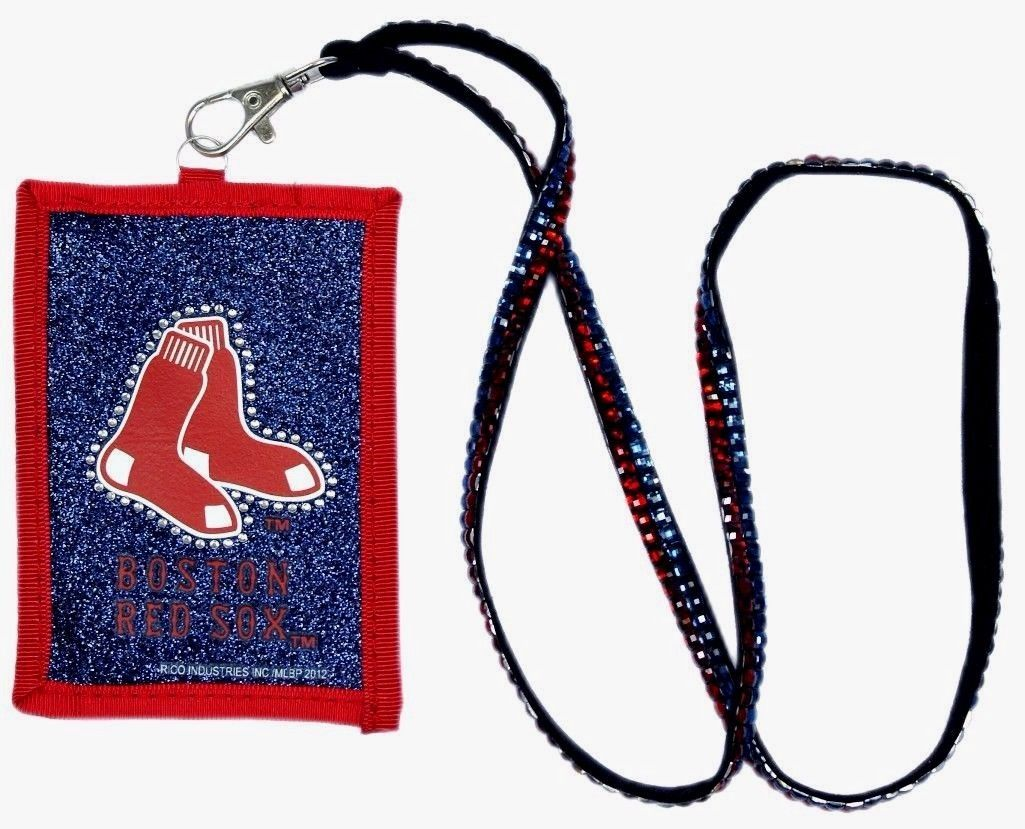 BOSTON RED SOX BEADED RHINESTONE LANYARD ID CREDIT CARD ZIPPER WALLET