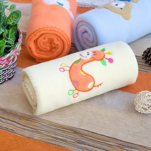 [Orange Giraffe - Yellow]Coral Fleece Baby Throw Blanket  - $19.99