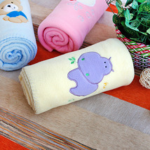 [Purple Hippo - Yellow]Coral Fleece Baby Throw Blanket  - $19.99