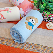 [Brown Bear - Blue]Coral Fleece Baby Throw Blanket  - $19.99