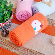 [White Whale - Orange]Coral Fleece Baby Throw Blanket - $19.99