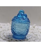 Vintage BLUE GLASS Jam/Jelly Jar Pot with GRAPE CLUSTER Lid - $12.50