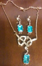 Vintage Aqua Rhinestone Necklace & Screw Back Earrings Set - $35.00