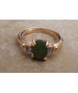 Vintage Signed Avon Jade & CZ Gold Tone Ring Size 7   - $10.00