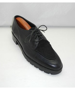 Amalfi Italy Black Leather/Suede Inset Split Toe Lace-Up Oxfords - Women... - $20.85