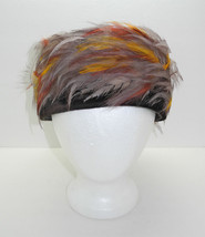 Vintage Brown Velvet/Fall Colors Feather Pillbox Hat -Women's Hat - $28.45