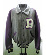 DeLong Varsity Band Letter Jacket-Purple/Grey Wool-Embroidered Name Adri... - $14.20