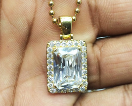 Square Ruby White Gem Stone 14k Gold Pendant And Ball Chain Necklace - $20.39