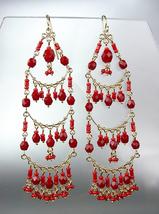 STUNNING Garnet Red Crystal Beads Gold Chandelier Dangle Peruvian Earrin... - £17.00 GBP
