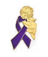 Purple Ribbon Pin Guardian Angel Awareness Lupus Epilepsy Many Cancer Causes - $10.97