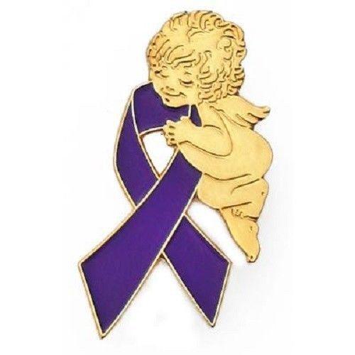 Purple Ribbon Pin Guardian Angel Awareness Lupus Epilepsy Many Cancer Causes image 4