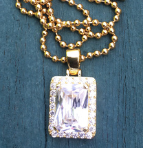 .Hip Hop Gold Lab Diamond Square Ruby Gem Pendant And Ball Chain Necklace - $24.99