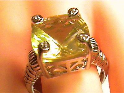 STERLING SILVER 925 Ring 6 lemon Citrine Natural Big Opera sapphire CLASSY ELEGA