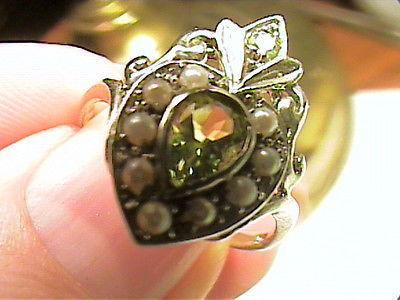 Silver 925 RING 6.5 peridot PEARL filigree CLASSY SOLITAIRE small delicate NICE