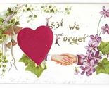 Lest We Forget Silk Heart Clasped Hands Vintage Embossed Gilded Novelty Postcard